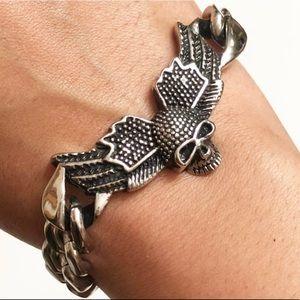 Stainless Steel Bracelet Link And Skull Design